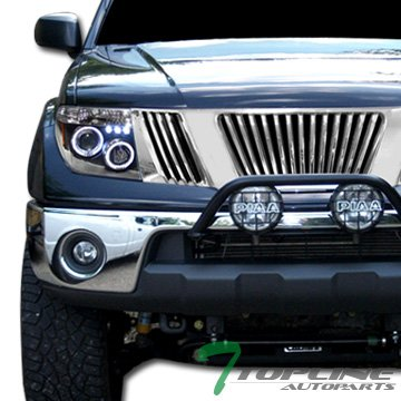 Topline Autopart Chrome Vertical Front Hood Bumper Grill Grille ABS For 05-08 Nissan Frontier ; 05-07 Pathfinder