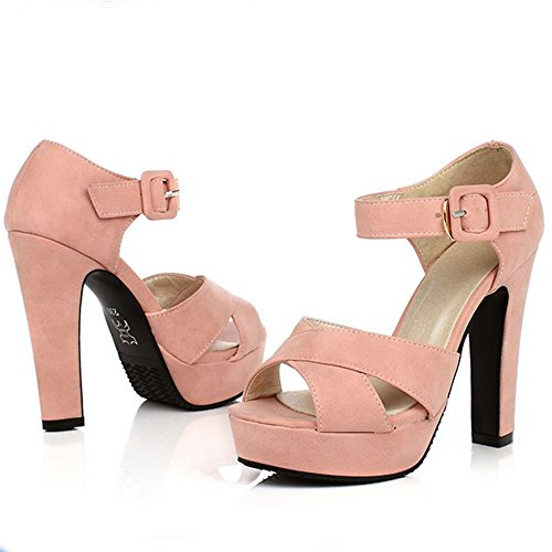 Fête D'été Talon Talons Moulantes Sangle De À Mariage Chaussures Boucle Sandales Coolcept Chaussures Les Daim Bloc En Plateforme Rose Femmes À wYIOaIxq8