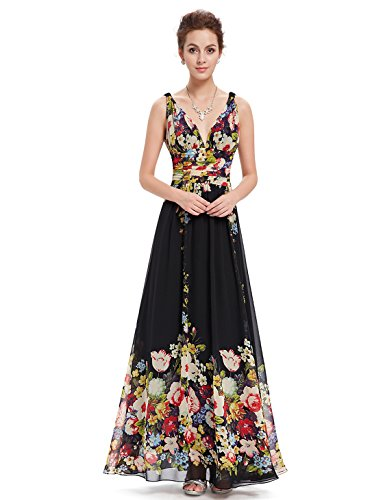 Chiffon Floral Prom Dress - 7