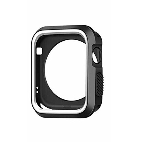 Price comparison product image Apple Watch Series 3 Case Bumper Shock-Proof & Shatter-Resistant Protector 2017 (Black+White, 38mm)