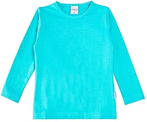 Lovetti Girls' Basic Long Sleeve Round Neck T-Shirt 9 Turquoise - Turquoise Girls Shirt