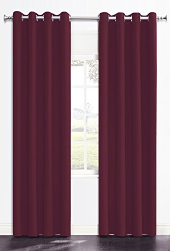 Price comparison product image Onlyyou Thermal Insulated Solid Grommet Blackout Curtains / Drape for Livingroom (1 Pair, 52 by 63-Inch, Burgundy Red)