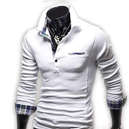 AMBLY ポロシャツ メンズ Tシャツ カットソー 長袖 ロンT チェック ゴルフウェア トップス カジュアル コーデ 青 グレー 白 春 夏 秋 メンズファッション
