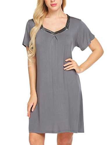 (Ekouaer Nightshirt Women's Cotton Sleepwear V Neck Short Sleeve Loungewear (Grey,XL))
