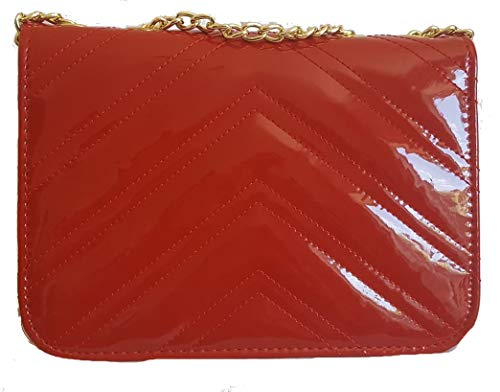 Cross Quilted Faux Prom Bag Clutch Glossy Red Strap Inspired Chain Evening Leather Designer Bridal Weddings Gossip Disco Gold Girl Body Parties Shoulder Patent With qxCnwpwft7