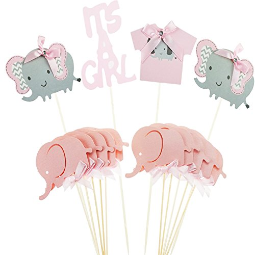 Jinhuamike Baby Elephant Cupcake Toppers Picks for It is A Girl Baby Shower Birthday Party Decorations Supplies Set of 14pcs ()