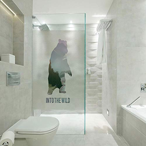 Covering Privacy Film Shower Window Cling,Wild Animals of Canada Survival in the Wild Theme Hunting Camping Trip Outdoors Decorative,Customizable size,Suitable for bathroom,door,glass etc,Multicolor