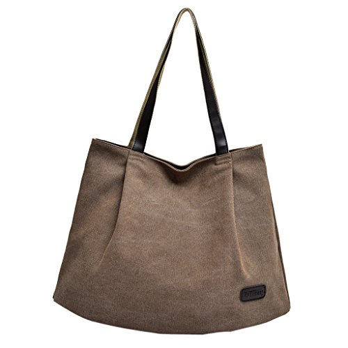 Baoblaze Handbag Canvas Coffee Women's Purses Zipper Hobo Bags Casual Shoulder Everyday Totes 6nB6xwZU