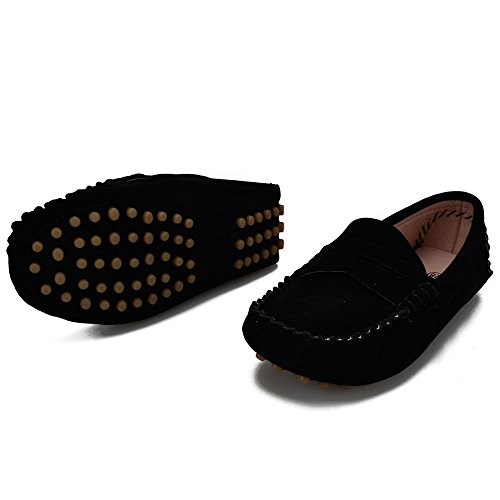 5, Black) (Kids Loafers)