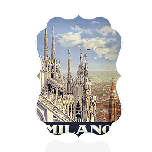 Sign Destination Aluminum Metal Wall Decor Milano Vintage Style A Vertical Classical Image Photo Print Wall Art - Benelux Shape, 8