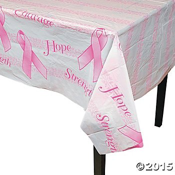 Ribbon Table (2 PINK RIBBON TABLECLOTH Breast Cancer Awareness Disposable Plastic 54 x 72)