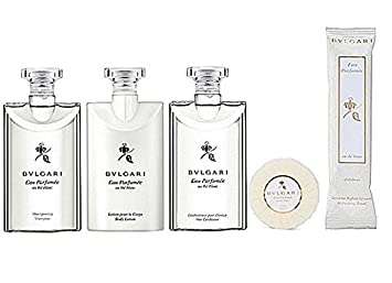 Bvlgari au the blanc White Tea Travel Gift Set – Lotion, Shampoo, Conditioner, Towelette Soap