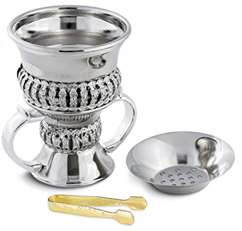 AM Regal Metal Incense Burner - Bakhoor Burner Mubkhara - Frankincense Insence Burner - Ideal for Yoga, Spa & Aromatherapy (Silver)