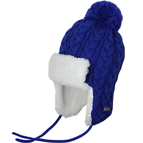 - Ami&Li Infant Baby Boys Girls Kids Ultra Comfortable Knit Winter Trapper Hat with Cute Fuzzy Ball Royal Blue