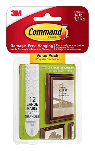 Command  Picture  & Frame Hanging Strips Sets Large Size White Damage-Free, 24-PAIR