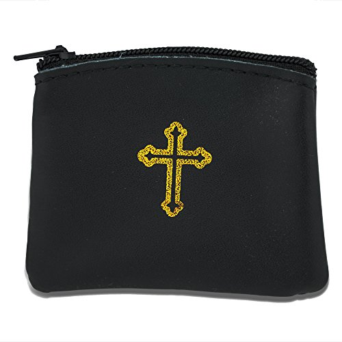 Genuine Leather Catholic Rosary Case (1, Black) Rosary Pouch