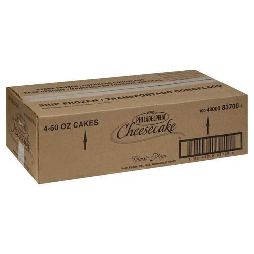 Kraft Frozen Philadelphia Plain Cheesecake, 60 Ounce -- 4 per case. by Philadelphia