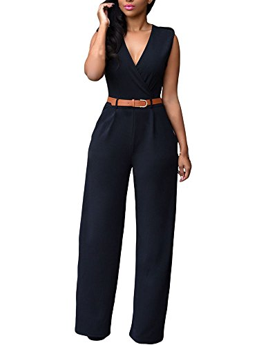 Cfanny Women's Sleeveless V Neck Wide Leg Palazzo Jumpsuit With Belt