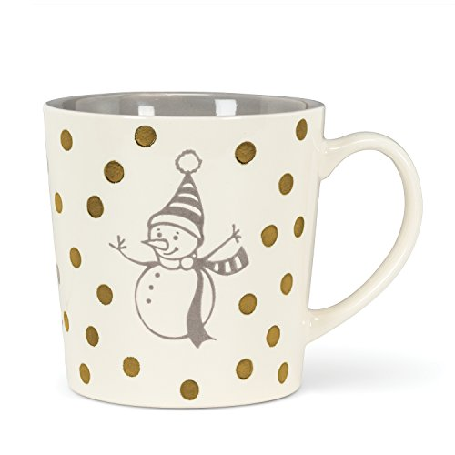 Abbott Collection 27-Latte/Snow Large Snowman and Dots Mug (Latte Mug Snowman)