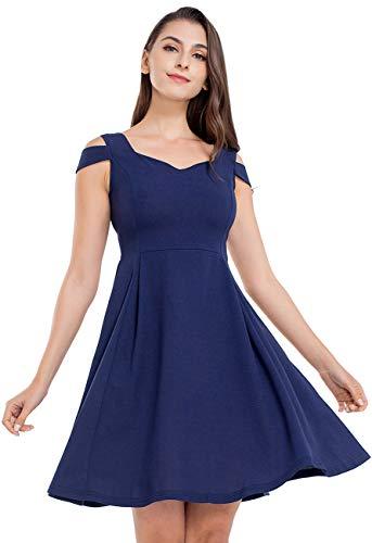 JTANIB Cocktail Party Dresses for Women, A Line Cold Shoulder V Neck Skater Dresses,Navy L