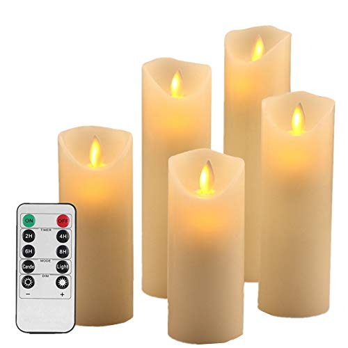 HEIOKEY LED Flameless Candle Set of 5 (5 6 7 8 9) Battery Operated Dripless Real Wax Flickering LED Pillar Lights Realistic Dancing Candles with 2/4/6/8 Hours Timer and 10-Key Remote Control