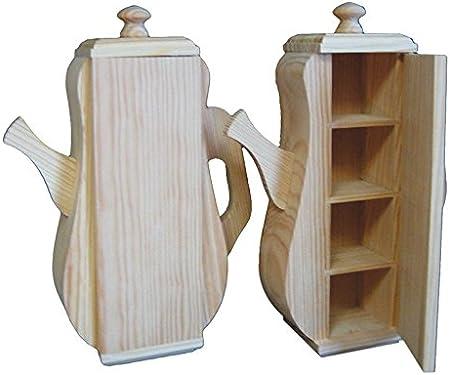 greca Caja de Madera con Forma de Tetera. Interior con ...