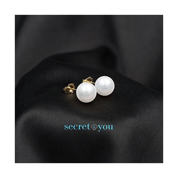 Orecchini da Donna con Perle Rotonde Coltivate D'Acqua Dolce Secret & You - Oro 18 carati 750 Legge o Argento rodiato… 4