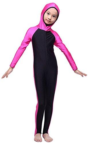 Fortuning's JDS Kids girls boys modesty hooded full length one piece swimming costume UPF 50+ swimwear