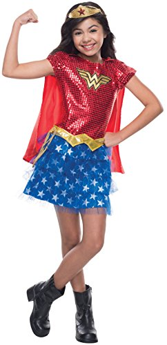 Rubie's Costume DC Superheroes Wonder Woman Sequin Child Costume, (Comic Book Heroines Costumes)