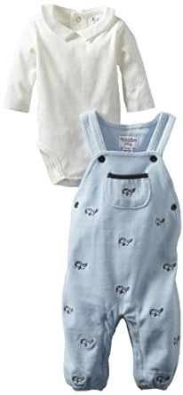 Kitestrings Baby-boys Newborn Embroidered Knit Velour Romper and Bodysuit 2 Piece Set, Blue Embroidery, 0-3 Months