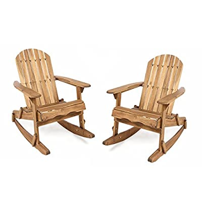 Great Deal Furniture Estelle Outdoor Natural Finish Acacia Wood Adirondack Rocking Chairs (Set of 2)