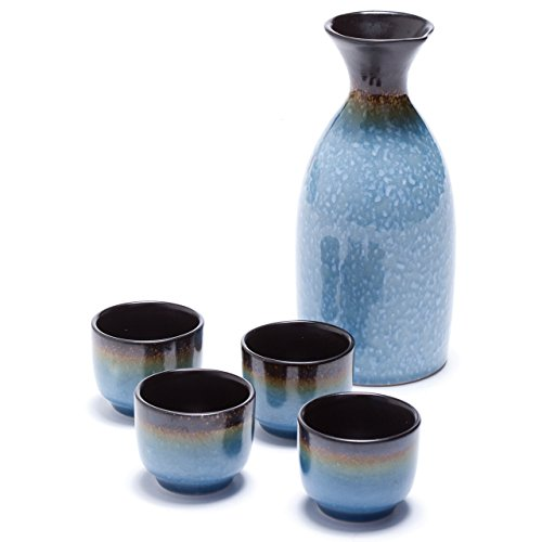 Oenophilia Osaka Sake 5-Piece Set, Durable Japanese Sake Ceramic Set Featuring 1 Tokkuri Bottle and 4 Ochoko cups
