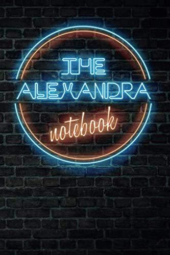 The ALEXANDRA Notebook: Vintage Blank Ruled Personalized & Custom Neon Sign Name Dotted Notebook Journal for Girls & Women. Wall Background. Funny ... Supplies, Birthday, Christmas Gift for Women.