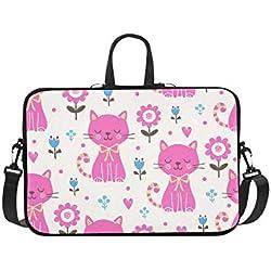 Funda para computadora portátil Gatos Rosados Mascota Impermeable Hombro para computadora portátil Bolsa de Mensajero Bolsa Bolsa Estuche con asa Se Adapta a 14 Pulgadas Netbook/Laptop