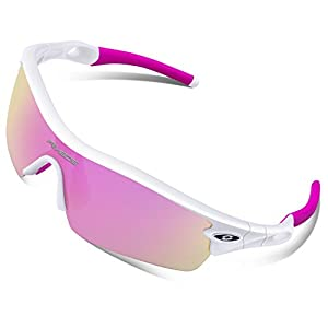 RIVBOS 805 Polarized Sports Sunglasses Glasses for Women with 5 Set Interchangeable Lenses for Cycling (TR90 White&Pink)
