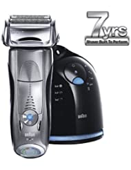 Braun Rechargeable Cordless Shaver, with Braun Clean & Renew System, Features Active Lift and Cut with OptiFoil, and Triple Action Cutting System, 100% Waterproof, Includes 3 Personalization Modes, Worldwide Voltage BONUS Travel Pouch and Clean & Renew Cartridge Included