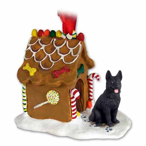 Conversation Concepts German Shepherd Gingerbread House Dog Christmas Ornament - Black