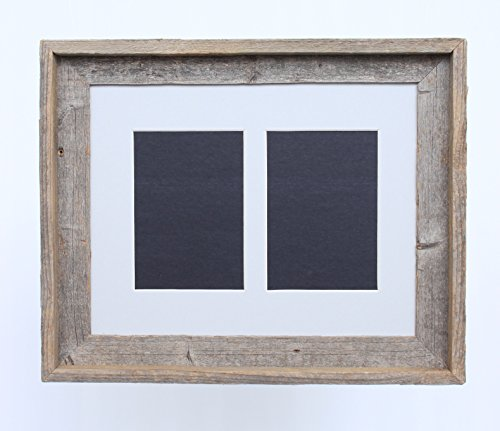 Cheap BarnwoodUSA 5 by 7 Inch Signature Picture Frame for 2 Photos – 100% Reclaimed Wood, Gray Mat