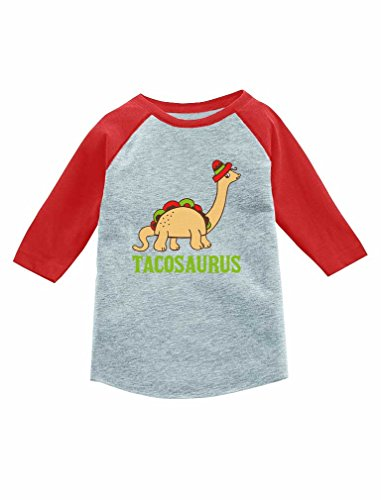 Tstars Tacosaurus Taco Funny Taco Dinosaur 3/4 Sleeve Baseball Jersey Toddler Shirt 5/6 Red by Tstars