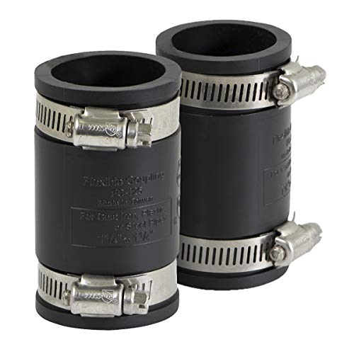 EVERCONNECT 4822x2 Flexible Pvc Coupling with Stainless Steel Clamps 1 inch Black (pack of ()