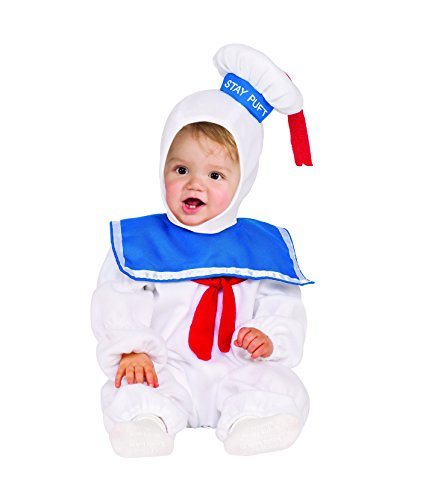 Costume Man Baby Marshmallow (Rubie's Baby Classic Ghostbusters Ez-on Stay Puft Romper Costume, White, Toddler)