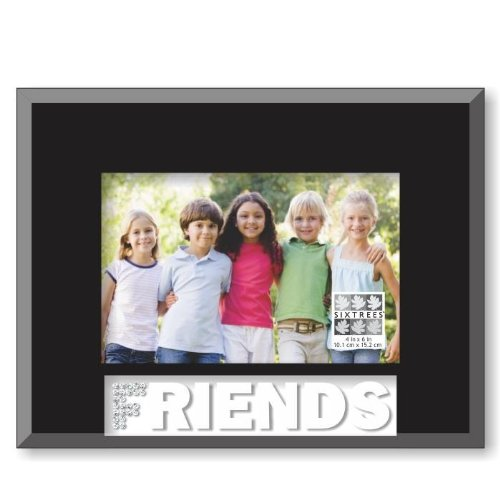 4 by 6-Inch Black Sixtrees Friends Glass Frosted Word Frame
