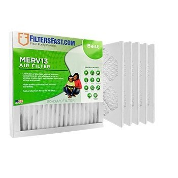 "16"" x 32"" x 1"" (Actual Size: 15.75"" x 31.75"" x 0.75"") 1"" Pleated Air Filter MERV 13 - 6-Pack by Filters Fast"