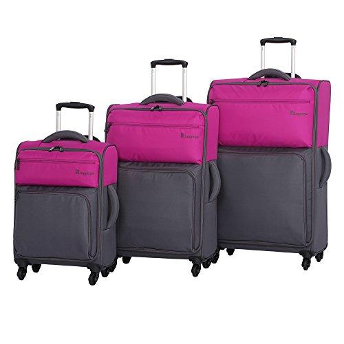 it luggage Duotone 4 Wheel 3 Piece Set, Fuchsia Red Top Half + Magnet Bottom Half