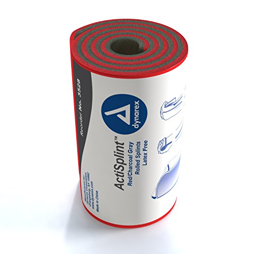 Dynarex ActiSplint - Malleable Aluminum with Foam Padding - Red/Charcoal Gray Rolled Conforming Splints - 36