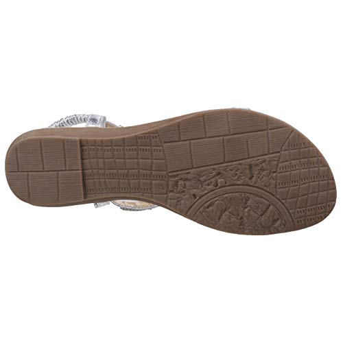 Ladies Womens T Casual Sandals Silver Bar Divaz Fashion Reflective Kerri 6B77R