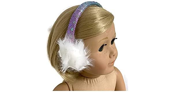 """Pastel Rainbow Sequin Earmuffs for 18/"""" American Girl Doll Clothes Accessories"""
