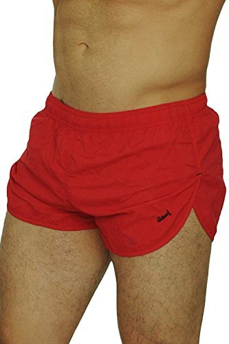 UZZI Men's Basic Running Shorts Swimwear Trunks 1830 Red M by UZZI