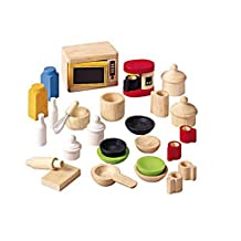 Plan Toys - Doll House Accessories For Kitchen With Tableware