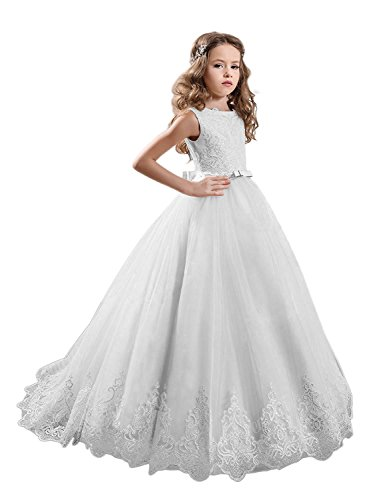 KissAngel White Long Lace Flower Girl Dresses Champagne Less Party Dress (12, White -